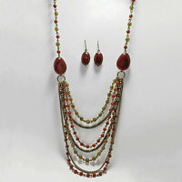 Vintage AVON Multi Cascading Chains Green & Red Bead Necklace & Earrings Set VTG