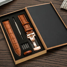 Genuine Leather 18MM-24MM Watch Band Strap Kit Butterfly Buckle Deployment Clasp