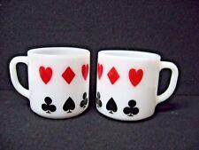 LOT 2 vtg FEDERAL milk GLASS mugs poker card suits DIAMOND HEART SPADE CLUB