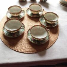 5 WONDERFUL ANTIQUE CHINESE ROSE MEDALLION FOOTED TEA CUPS AND  SAUCERS