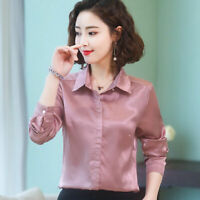 Ladies Satin Shirt Blouse Tops Long Sleeve Business Formal Shiny Elegant Casual