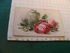 1800's Raphael Tuck STUDY OF RED ROSES AND FLOWER VASE by C. Klein Chromolitho
