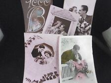 Lot of 5 vintage French Sweetheart postcards, 1930s-40s, WWII occupation.