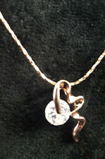 Rose gold plate clear CZ pendant and chain