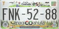 Coahuila License Plate, Original Nummernschild Mexico FNK-52-88 Originalbild