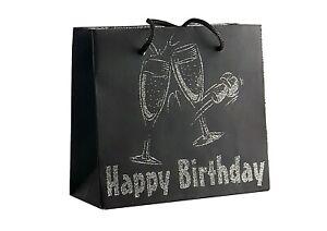 Champagne Corks Happy Birthday Gift Bags Black Silver Glitter Small Medium