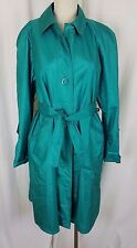 Womens London Fog Towne Shiny Shimmer Belted Sash Long Trench Coat 6P Cape Top