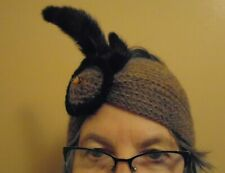 Vintage Lolita Sena Mohair Wool Handknit Headband w Mink Trim Brown from England