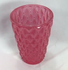 "Vintage SATIN GLASS Pink Diamond Quilted TUMBLER Princess 4.5"" Tall"