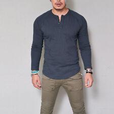 Mens Remikstyt Henley Button Long Sleeve Sport Shirt T-shirt Cotton Tee Tops New