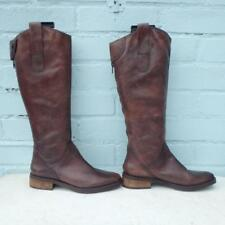 Faith Leather Boots Size Uk 3 Eur 36 Womens Ladies Sexy Distressed Brown Boots