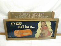 Vintage Holsum Bread Advertising Sign Clemens' Grocery Store Gril with Dog