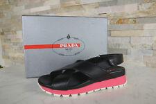 PRADA Gr 41 Sandalen Sandals 3X6022 Schuhe Klett schwarz pink NEU UVP 430 €