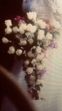 New listing Silk Ivory Roses & Lavender Lilacs Cascade Wedding Bouquet w/ Boutonniere Set