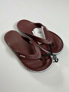 Crocs Unisex Burgundy Relaxed Fit Thong Sandals NEW! NWT
