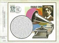 Foglio CEF 1er Giorno Francia Charles Cros 1977