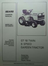 Sears Craftsman GT18 Garden Tractor & Mower Owner & Parts Manual 48pg 917.255910