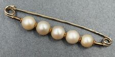 Handmade Vintage Womens Pearl Pin Brooch 14ct White & Yellow Gold Fine Jewelry