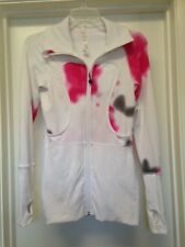 Lululemon White Zip Jacket Pink Gray Trim Thumb Holes Sz 4