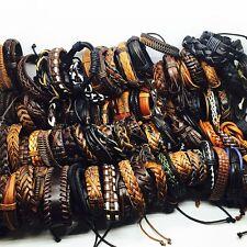 wholesale 100pcs/lot mix styles men's leather surfer handmade cuff bracelets