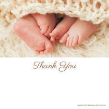 Baby Thank You Cards - Twins Peeping Toes - Pack of 10