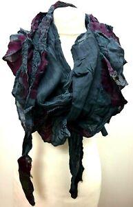 Boho hippy goth DARK GREY pretty long festival LETTUCE OF LONDON scarf wrap gift