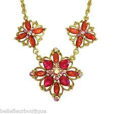 1928 Jewelry Aberdeen Coral & Pink Flower Statement Necklace