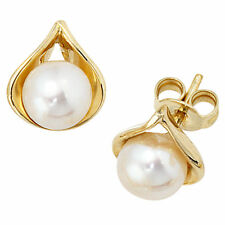 NEU Damen Ohrstecker echte Perlen echt Gold 585 Ohrringe Perle 585er 14 Karat