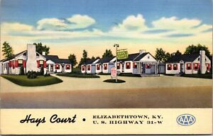 Linen Postcard Hays Court in Elizabethtown, Kentucky~137511