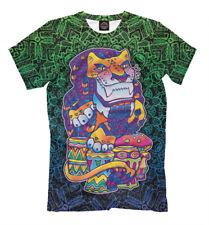 Gypsy Lion men's t-shirt - Drums rasta dreadlocks marijuana hippie bright colors