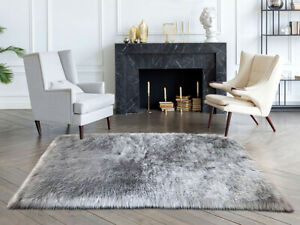 Lambzy FAUX  Square Sheepskin,Silky Shaggy Rug,Soft Touch Fur -GRAY color