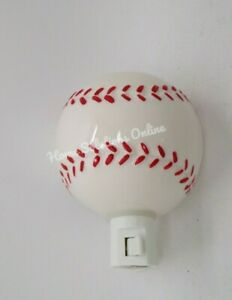 Pottery Barn Kids Ceramic Embossed Baseball Sports Nightlight #A33