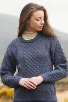 Unisex Blue Aran Wool Sweater Irish Made by West End Knitwear Ireland c1347