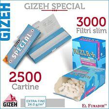 2500 Cartine GIZEH SPECIAL CORTE EXTRA FINE 50 pz + 3000 FILTRI RIZLA SLIM 6 mm