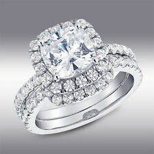 3.35 Ct CUSHION HALO Lab Engagement Ring & Wedding Band in Solid 14K White Gold