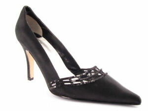 New CAPARROS Women Black Satin Evening High Heel Pointy Toe Pump Shoe Sz 8.5 B