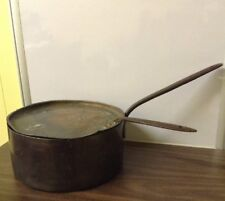 ANTIQUE SOLID COPPER LARGE POT WITH LID HEAVY IRON HANDLES PRIMITIVE COLLECTIBLE