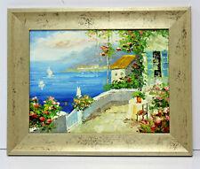European Coastline Boats 12 x 16 Oil Painting on Canvas w/Custom Frame