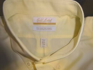 Roundtree YorkeDress Shirt Solid Yellow Size 18.5 - 33 BIG NWD - Stain