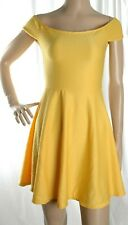 New Look yellow off shoulder short summer dress size 10 UK 38 Eur