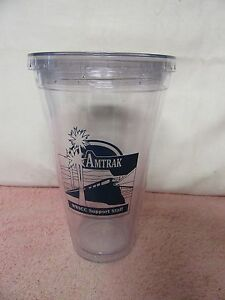 Amtrak Reusable Drink Glass Tumbler Coffee Cup - Clear Plastic Insulated Thermo