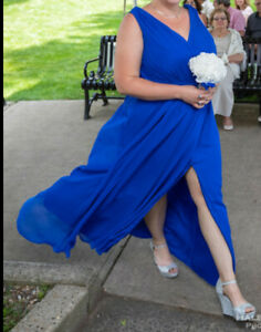 Davids Bridal sz 20 Horizon Blue Faux-wrap Pleated Chiffon dress F19585