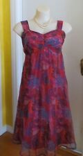 Vintage Chiffon Pink And Blue Paisley Summer Hippy Empire Flared Dress. M