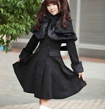 Princess dress womens cloak bow double breasted long slim winter parkas coat c50