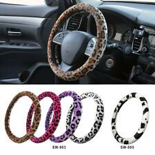 Protective Soft Plush Animal Print Steering Wheel Cover for Car Truck SUV