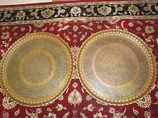 Two Very large Syrian brass tray wall plaque.