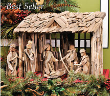 Natural Driftwood 6 Piece Nativity Set with Stable
