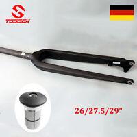 """TOSEEK 26/27.5/29"""" 3K Vollcarbon MTB Fahrrad Starr Gabeln 1-1/8"""" Gerades Rohr"""
