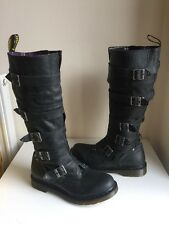 New! Sz8 Dr. Martens Airwair Phina Black Leather Buckle/ Zip Knee Hi Boots EU42