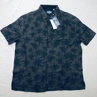 Nat Nast Mens New Silk Blend Short Sleeve Floral Black Shirt Size Large NWT 16G